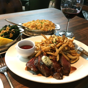 The Steak Frites is a specialty available on both lunch and dinner menus. Photo: Angela De Felice
