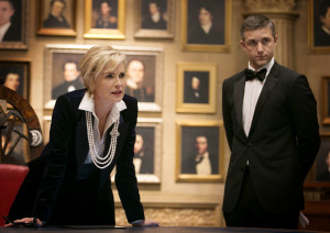 """As the mysterious Agent X, Hephner (r), who does many of his own stunts on the show, works in the discretionary service of Vice President Natalie Maccabee, played by """"Basic Instinct"""" star Sharon Stone. Photo courtesy of TNT"""