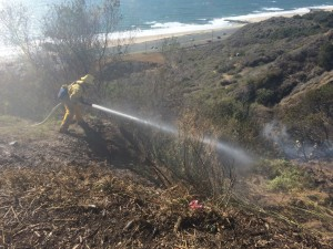 Firefighters douse the brush. Photo by Dayna Drum