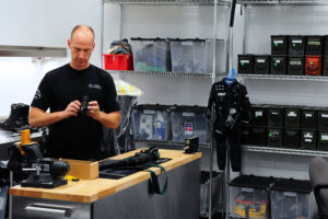 Officers in the armory are responsible for keeping SWAT equipment prepared for action. Rich Schmitt/Staff Photographer