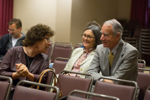 (L to r): Design Review Board members Kelly Comras and Donna Vaccarino converse with John B. Murdock, the attorney representing Jack Allen who filed an appeal asking for an EIR.