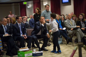 Gavin gets a high-five from Rick Caruso after speaking. Photo: Jayrol San Jose