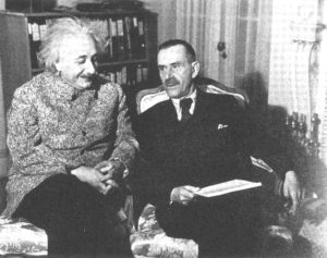 Thomas Mann (right) chats with Albert Einstein at Princeton in 1938. Photo source: Wikipedia