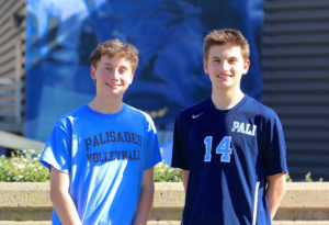 Jeff Stuart (left) plays libero and twin brother Scott is an outside hitter for the Palisades High boys volleyball team. Photos: Steve Galluzzo