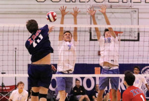 Mason Mallory and Flaviano Winther block against Crossroads in the championship game of the Venice Invitational. Photo: Steve Galluzzo