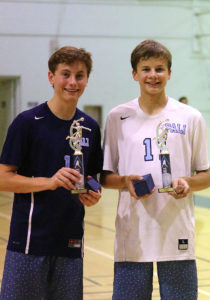 Most Valuable Player Jeff Stuart (left) and All-Tournament choice Miles Partain with their trophies. Photo: Steve Galluzzo
